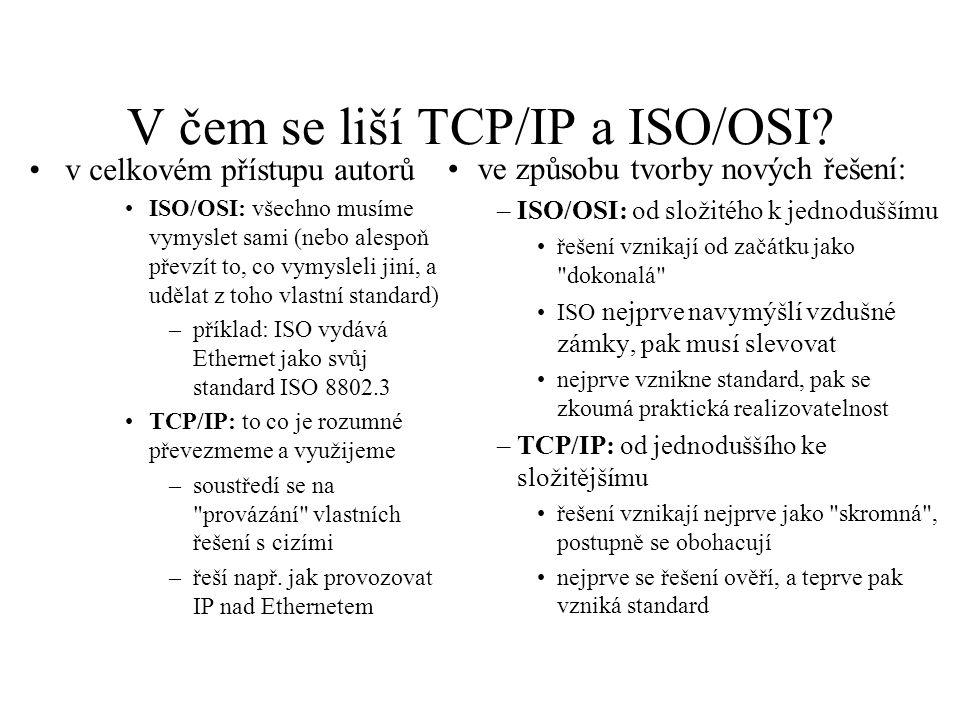 V čem se liší TCP/IP a ISO/OSI