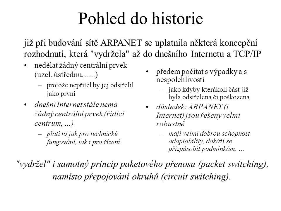 Pohled do historie již při budování sítě ARPANET se uplatnila některá koncepční rozhodnutí, která vydržela až do dnešního Internetu a TCP/IP.