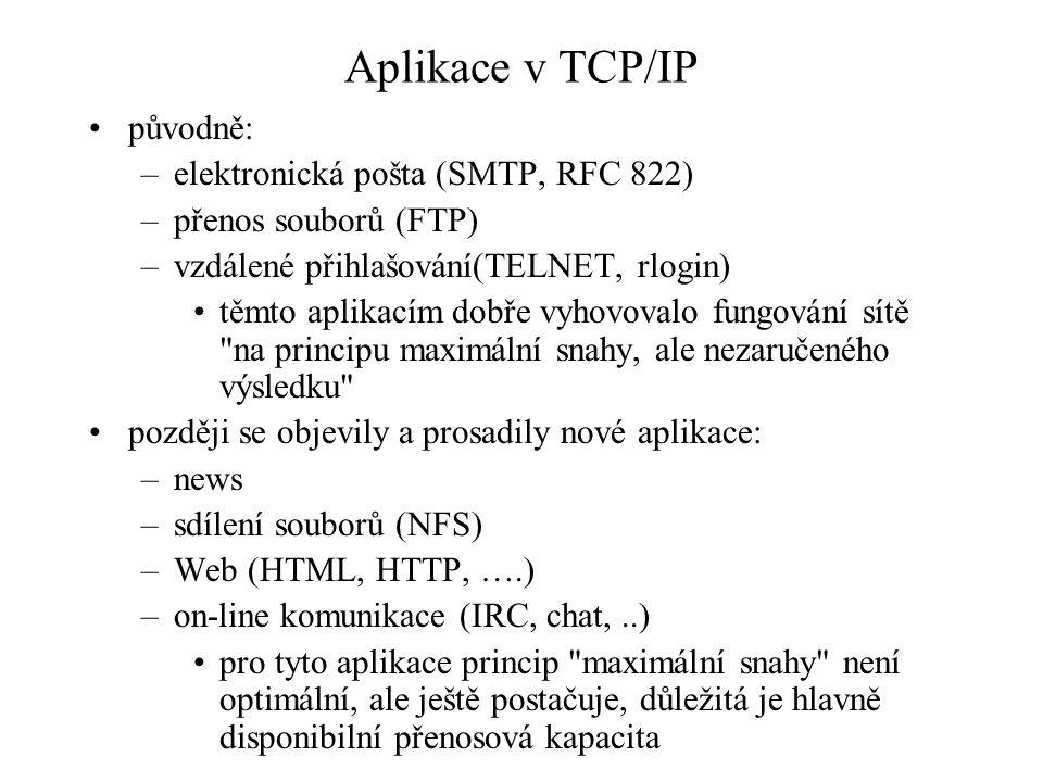 Aplikace v TCP/IP původně: elektronická pošta (SMTP, RFC 822)