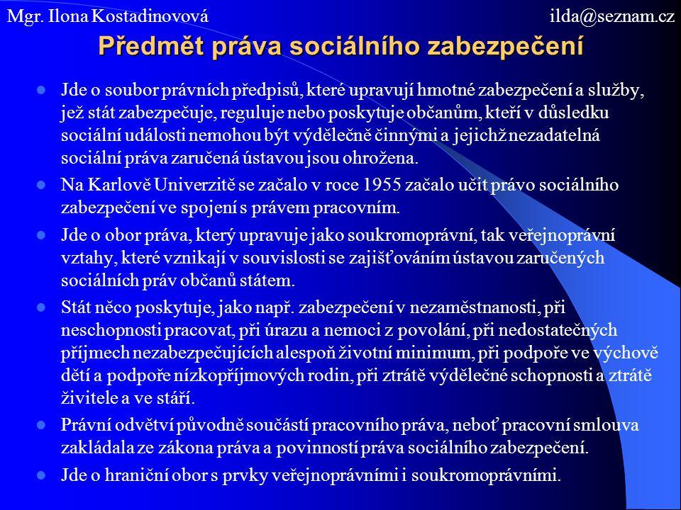 Předmět práva sociálního zabezpečení
