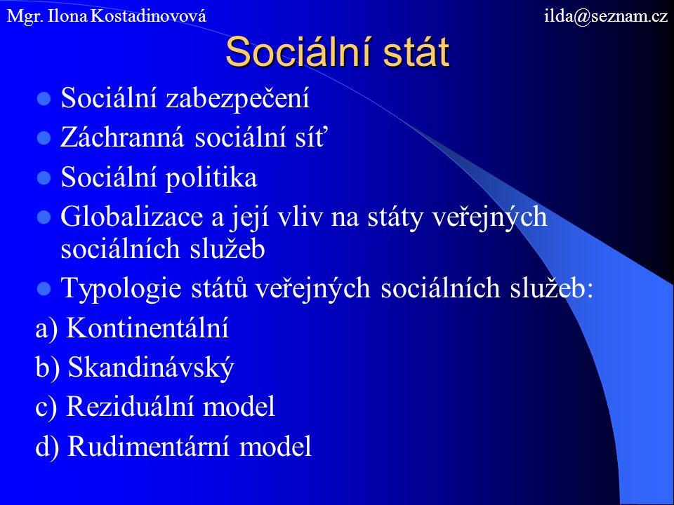 Sociální stát Sociální zabezpečení Záchranná sociální síť