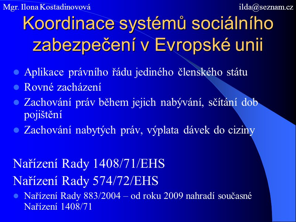 Koordinace systémů sociálního zabezpečení v Evropské unii