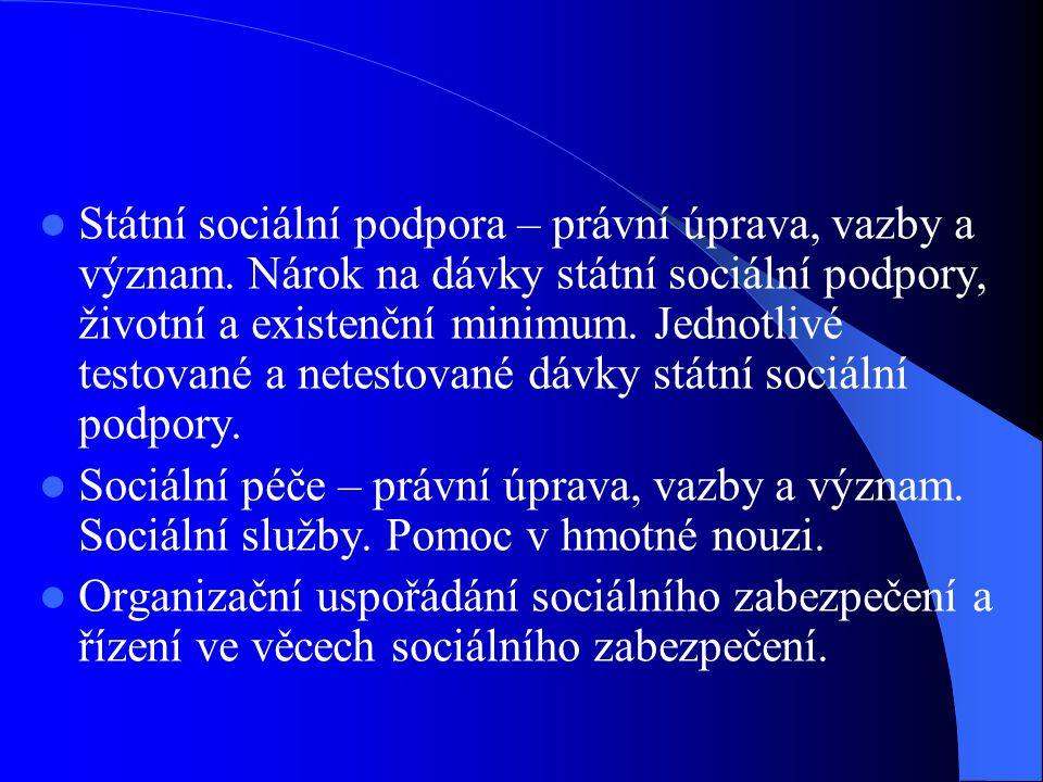 Státní sociální podpora – právní úprava, vazby a význam