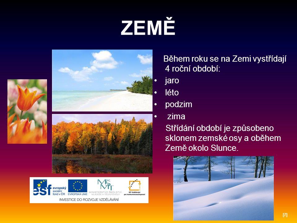ZEMĚ Během roku se na Zemi vystřídají 4 roční období: jaro léto podzim