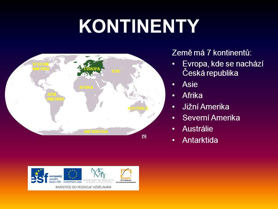 KONTINENTY Země má 7 kontinentů: