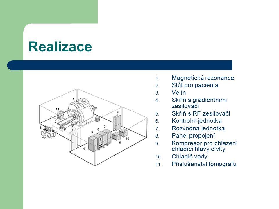 Realizace Magnetická rezonance Stůl pro pacienta Velín