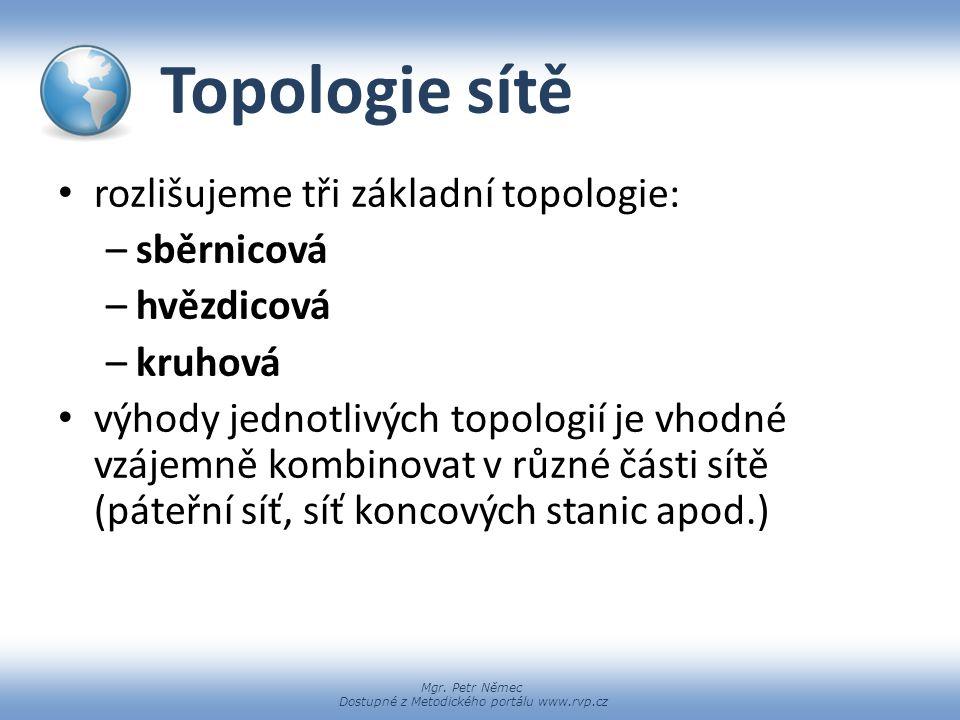 Topologie sítě rozlišujeme tři základní topologie: sběrnicová