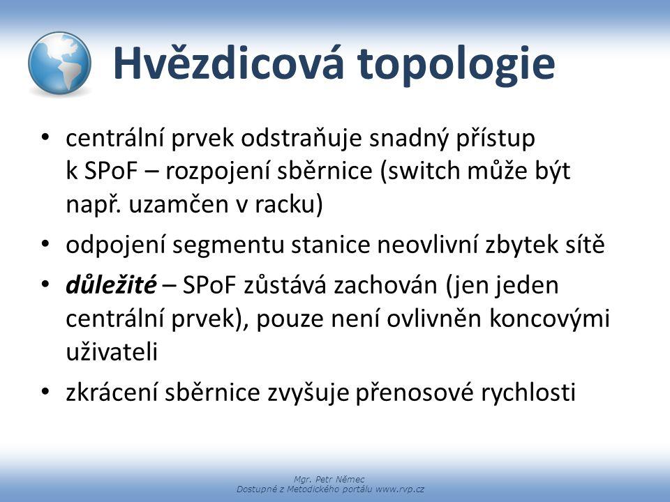Hvězdicová topologie centrální prvek odstraňuje snadný přístup k SPoF – rozpojení sběrnice (switch může být např. uzamčen v racku)