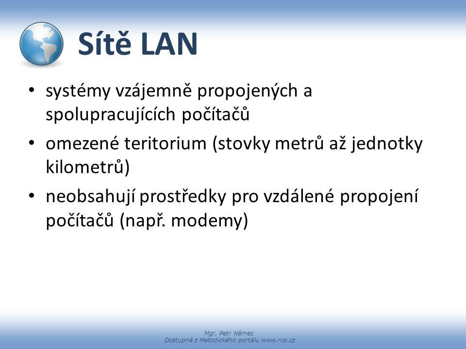 Sítě LAN systémy vzájemně propojených a spolupracujících počítačů