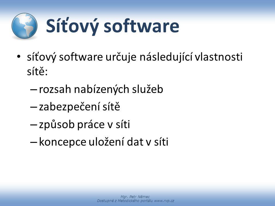 Síťový software síťový software určuje následující vlastnosti sítě: