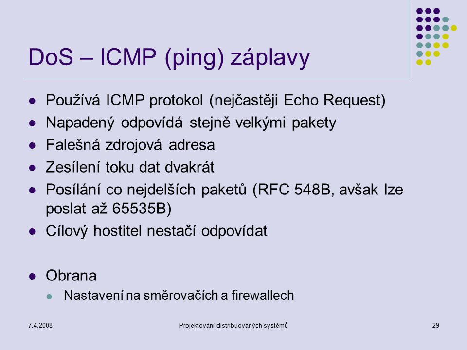 DoS – ICMP (ping) záplavy