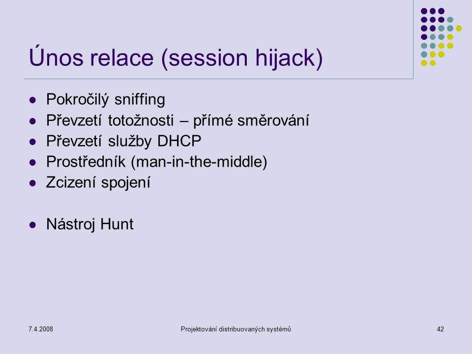 Únos relace (session hijack)