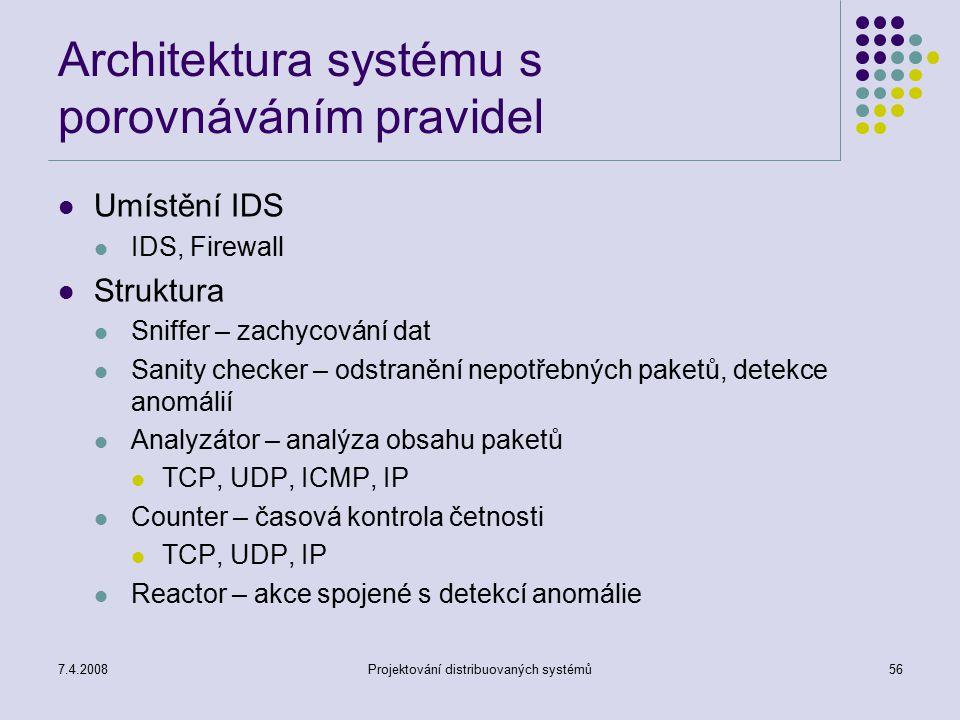 Architektura systému s porovnáváním pravidel