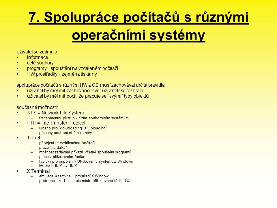 7. Spolupráce počítačů s různými operačními systémy