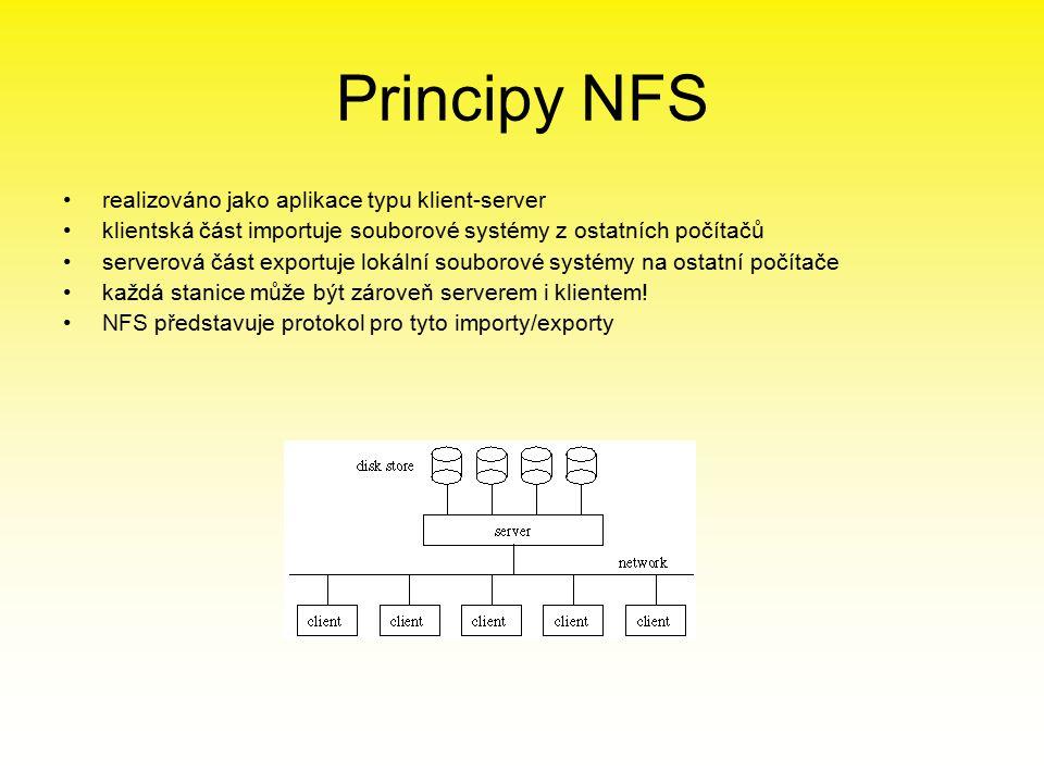 Principy NFS realizováno jako aplikace typu klient-server