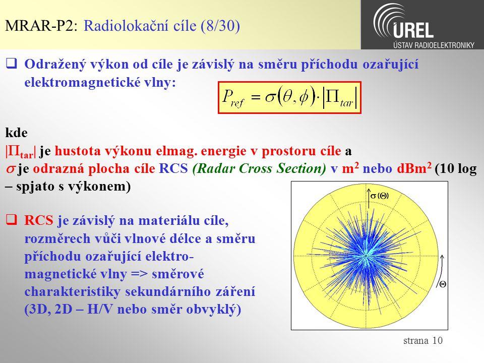 MRAR-P2: Radiolokační cíle (8/30)