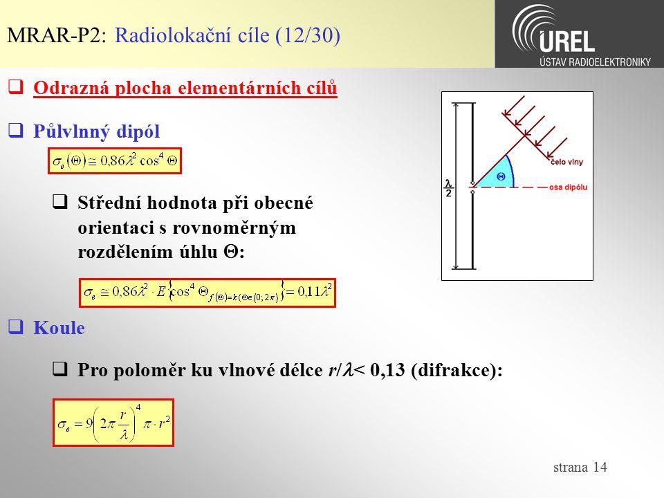 MRAR-P2: Radiolokační cíle (12/30)