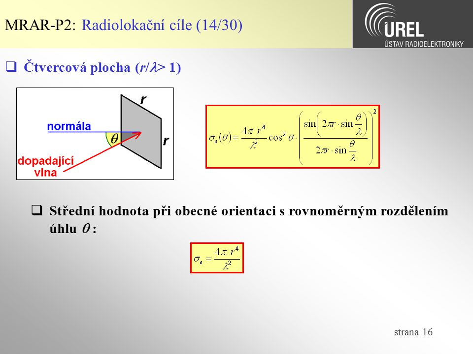 MRAR-P2: Radiolokační cíle (14/30)