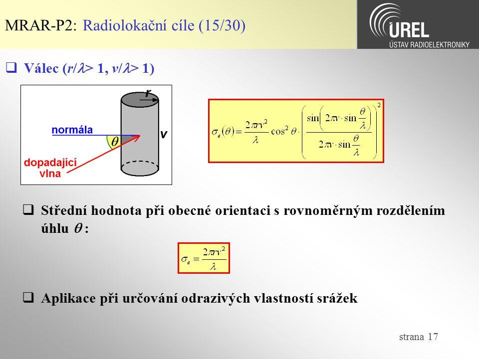 MRAR-P2: Radiolokační cíle (15/30)