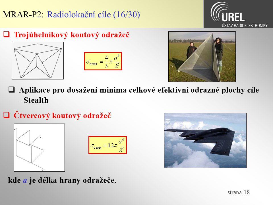MRAR-P2: Radiolokační cíle (16/30)