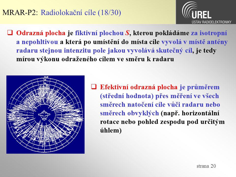 MRAR-P2: Radiolokační cíle (18/30)