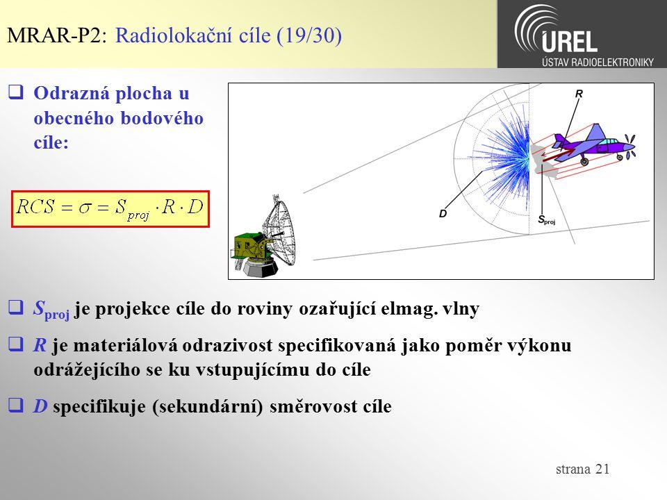 MRAR-P2: Radiolokační cíle (19/30)