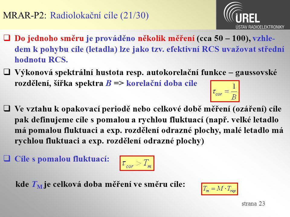 MRAR-P2: Radiolokační cíle (21/30)