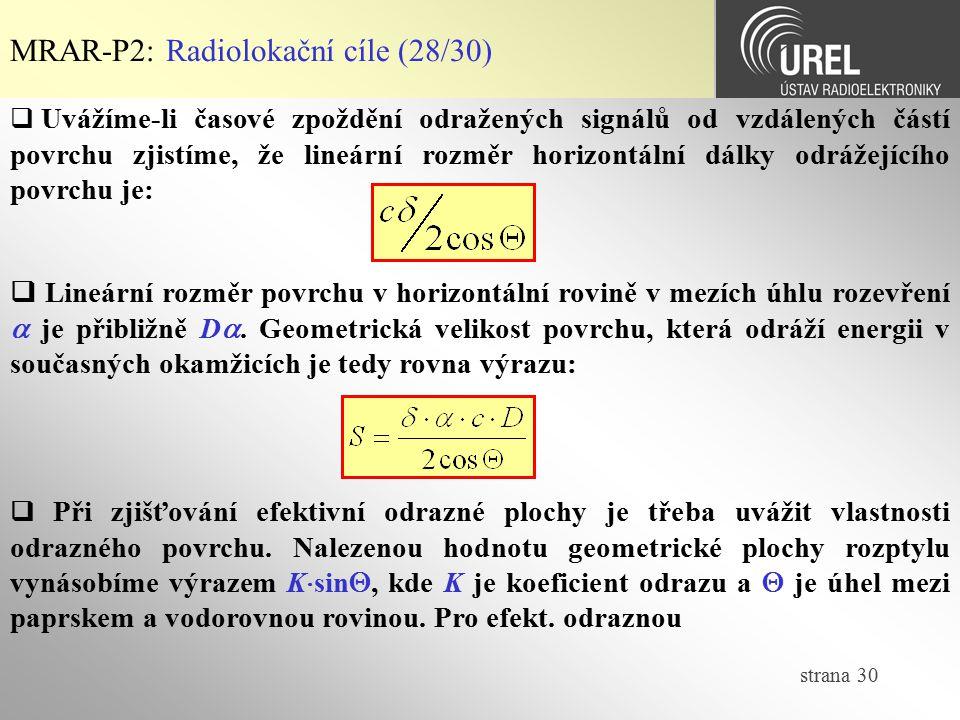 MRAR-P2: Radiolokační cíle (28/30)
