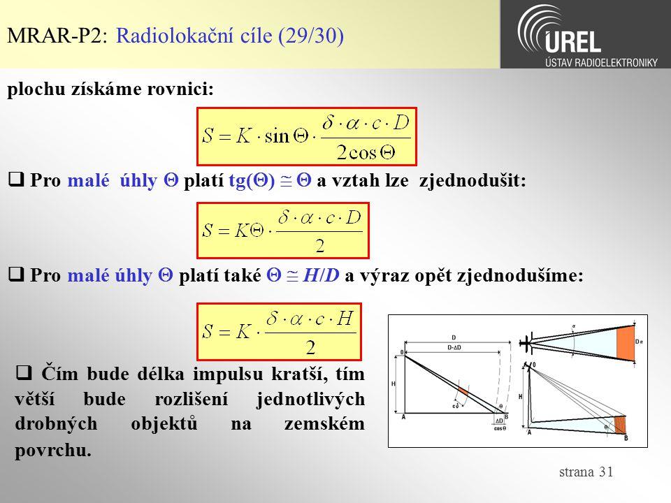 MRAR-P2: Radiolokační cíle (29/30)