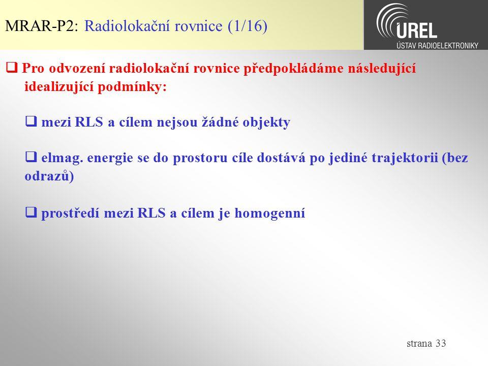 MRAR-P2: Radiolokační rovnice (1/16)