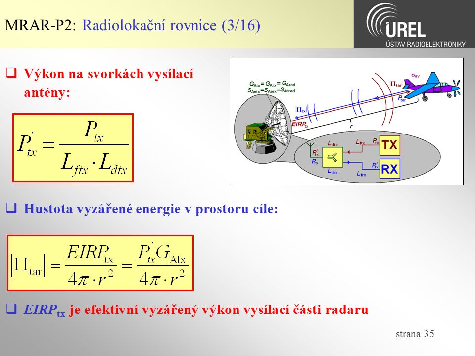 MRAR-P2: Radiolokační rovnice (3/16)