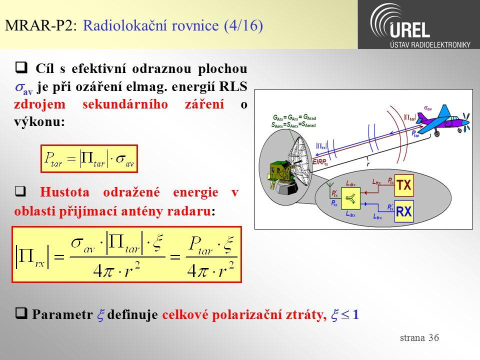 MRAR-P2: Radiolokační rovnice (4/16)