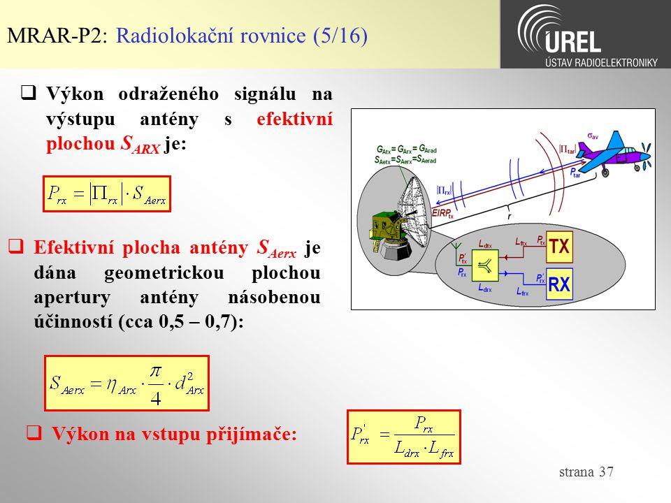 MRAR-P2: Radiolokační rovnice (5/16)