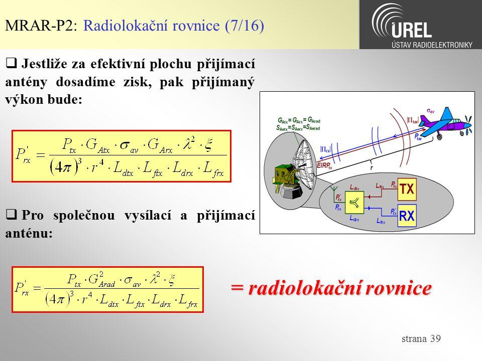 = radiolokační rovnice
