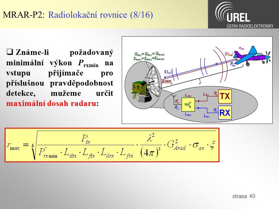 MRAR-P2: Radiolokační rovnice (8/16)