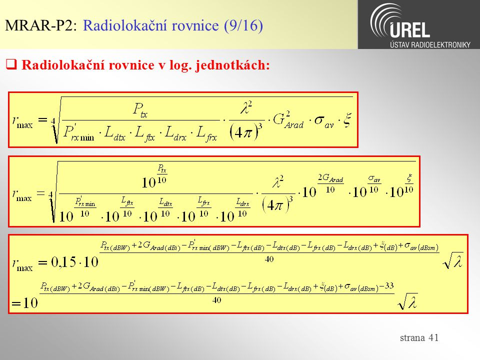 MRAR-P2: Radiolokační rovnice (9/16)