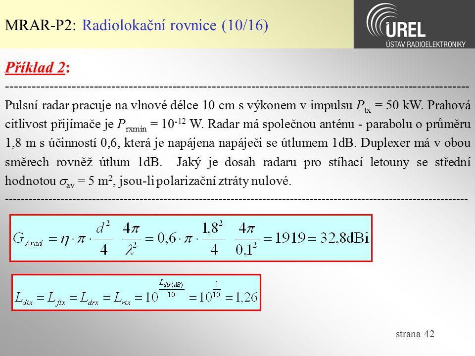 MRAR-P2: Radiolokační rovnice (10/16)