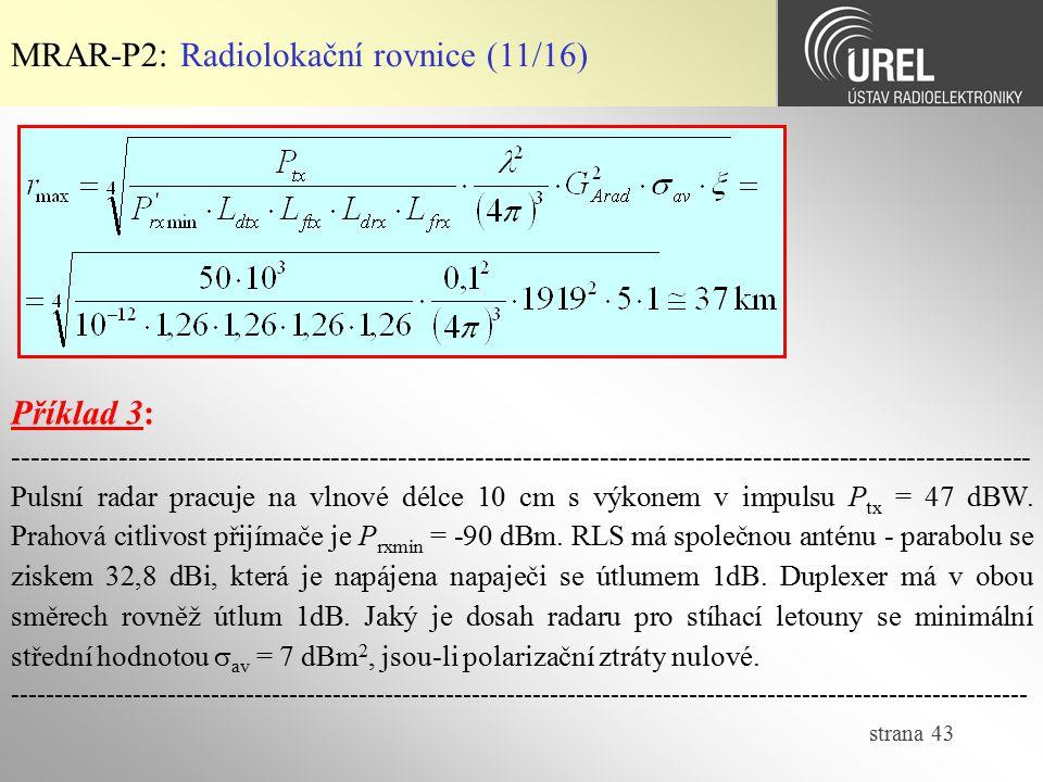 MRAR-P2: Radiolokační rovnice (11/16)