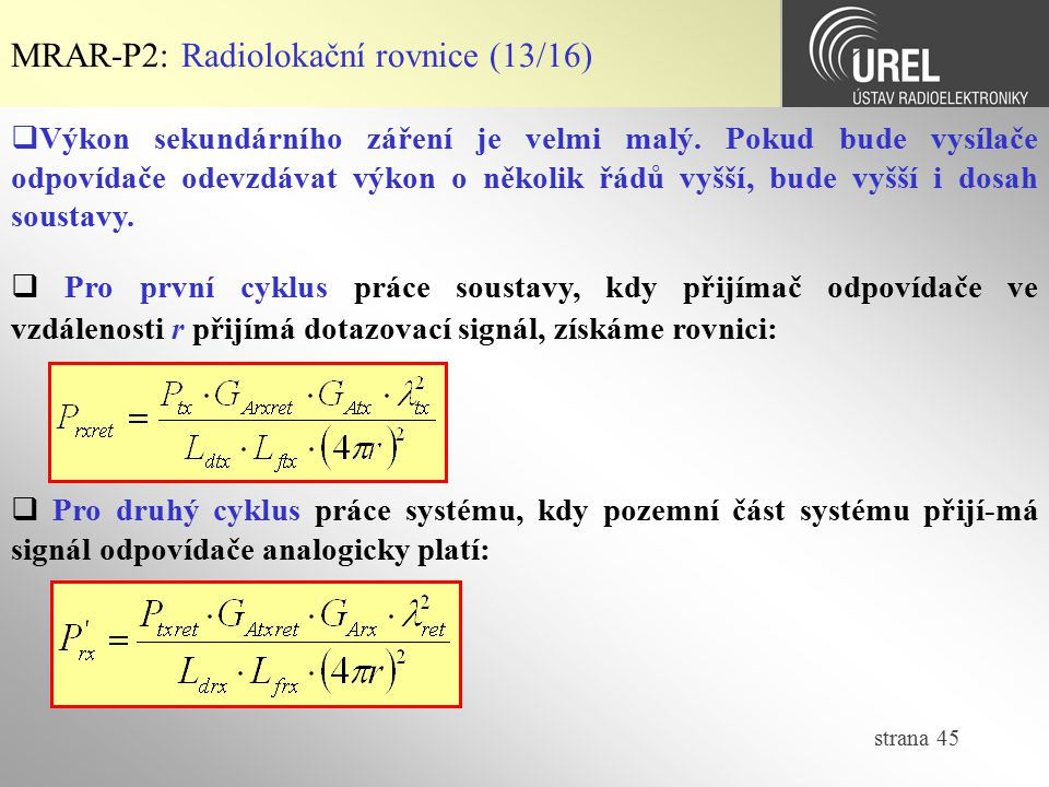 MRAR-P2: Radiolokační rovnice (13/16)