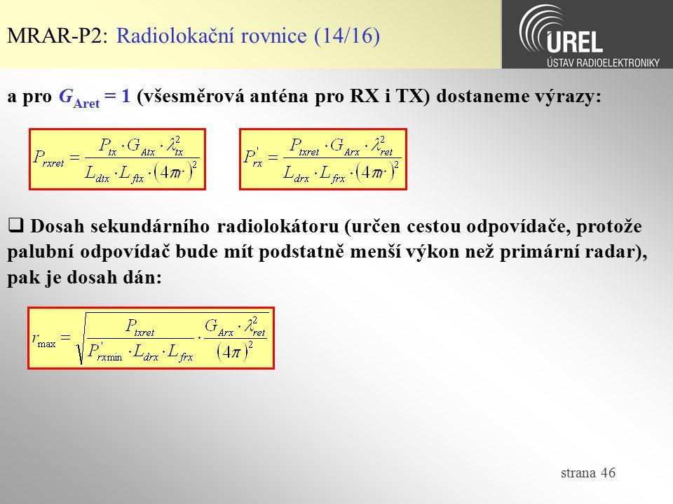 MRAR-P2: Radiolokační rovnice (14/16)