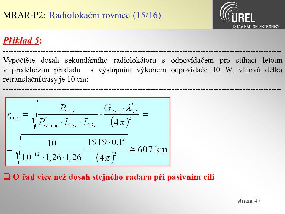 MRAR-P2: Radiolokační rovnice (15/16)