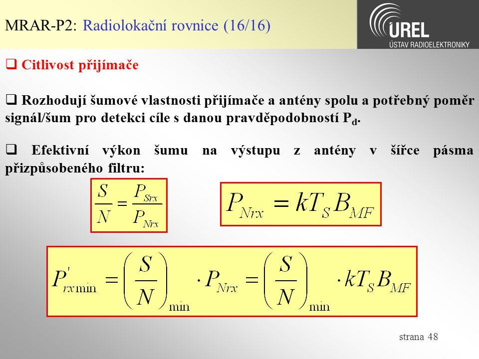 MRAR-P2: Radiolokační rovnice (16/16)