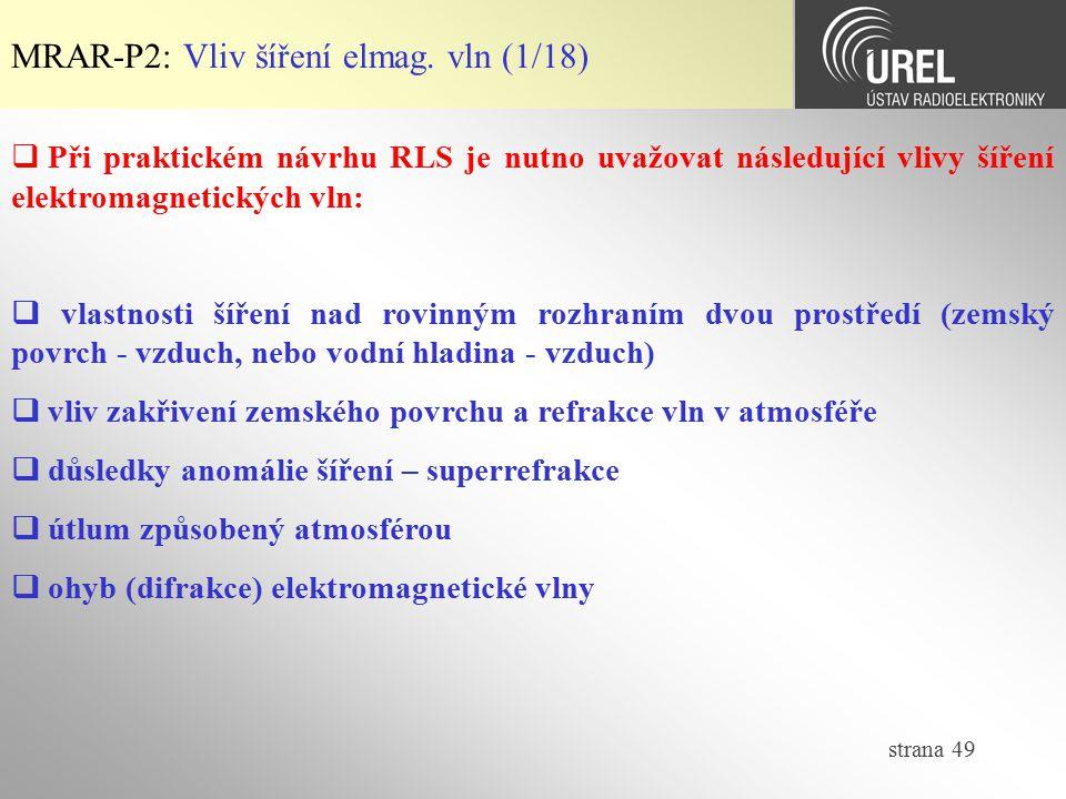 MRAR-P2: Vliv šíření elmag. vln (1/18)