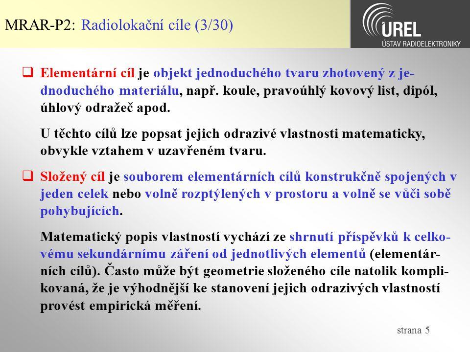 MRAR-P2: Radiolokační cíle (3/30)