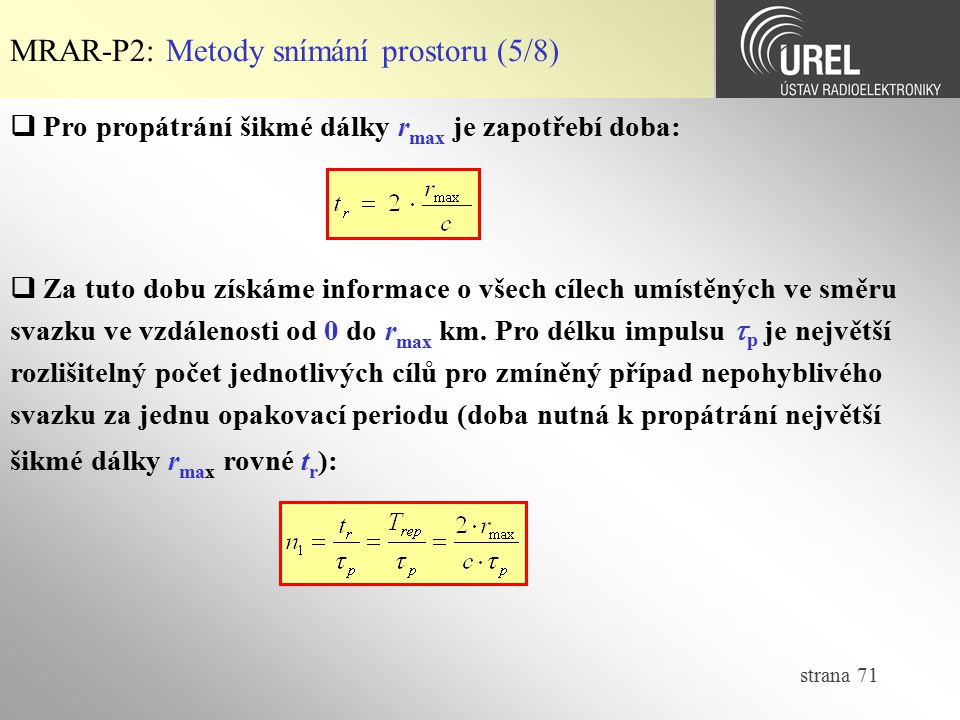 MRAR-P2: Metody snímání prostoru (5/8)
