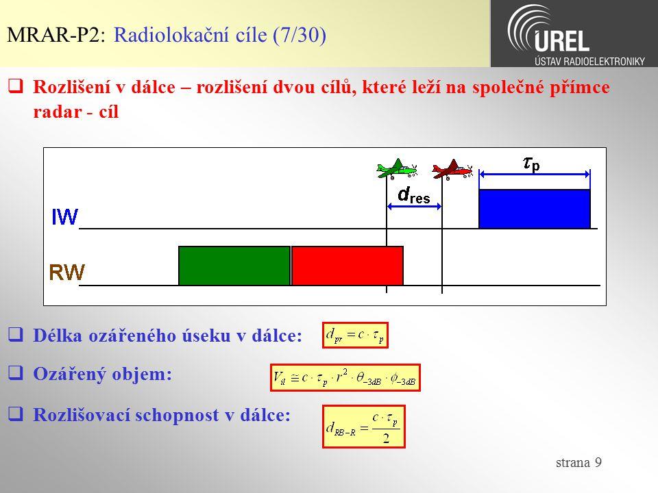 MRAR-P2: Radiolokační cíle (7/30)