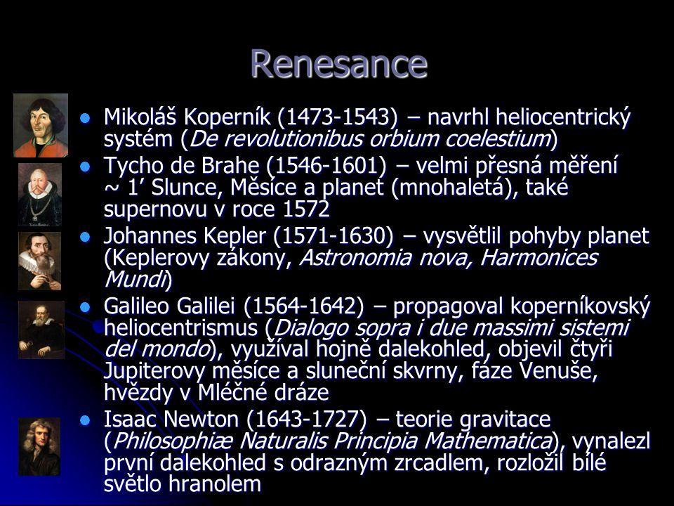 Renesance Mikoláš Koperník (1473-1543) – navrhl heliocentrický systém (De revolutionibus orbium coelestium)
