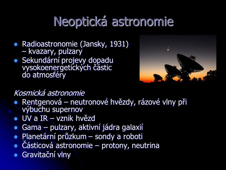 Neoptická astronomie Radioastronomie (Jansky, 1931) – kvazary, pulzary