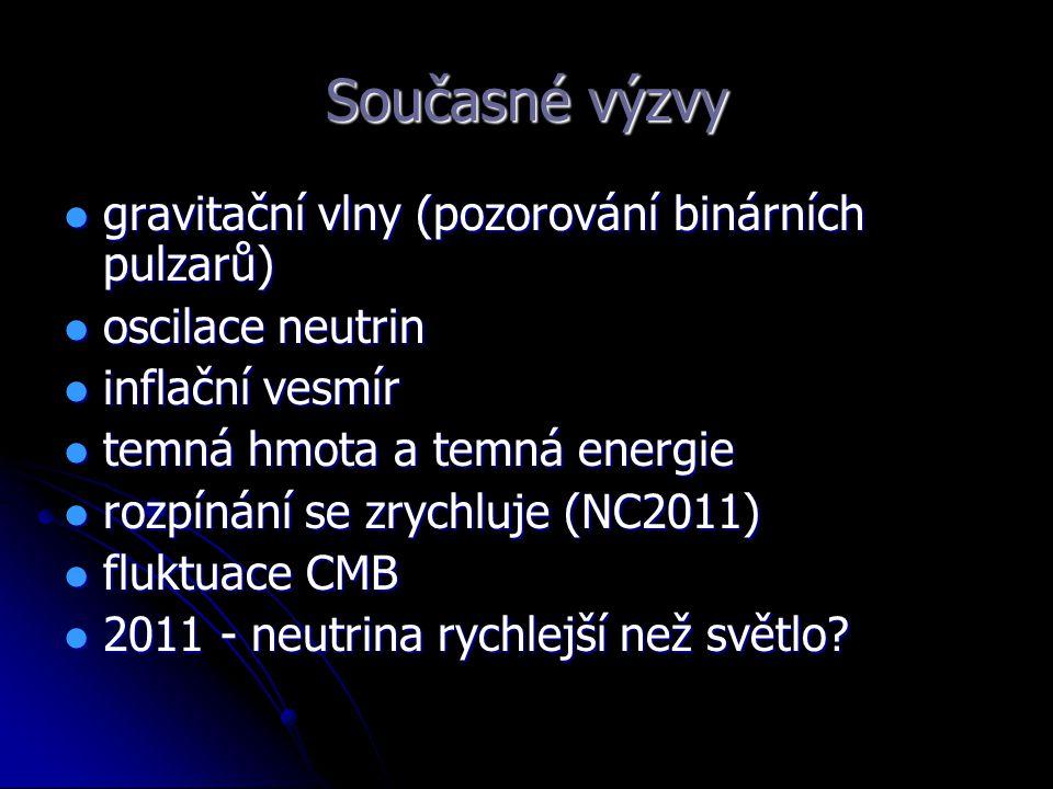 Současné výzvy gravitační vlny (pozorování binárních pulzarů)