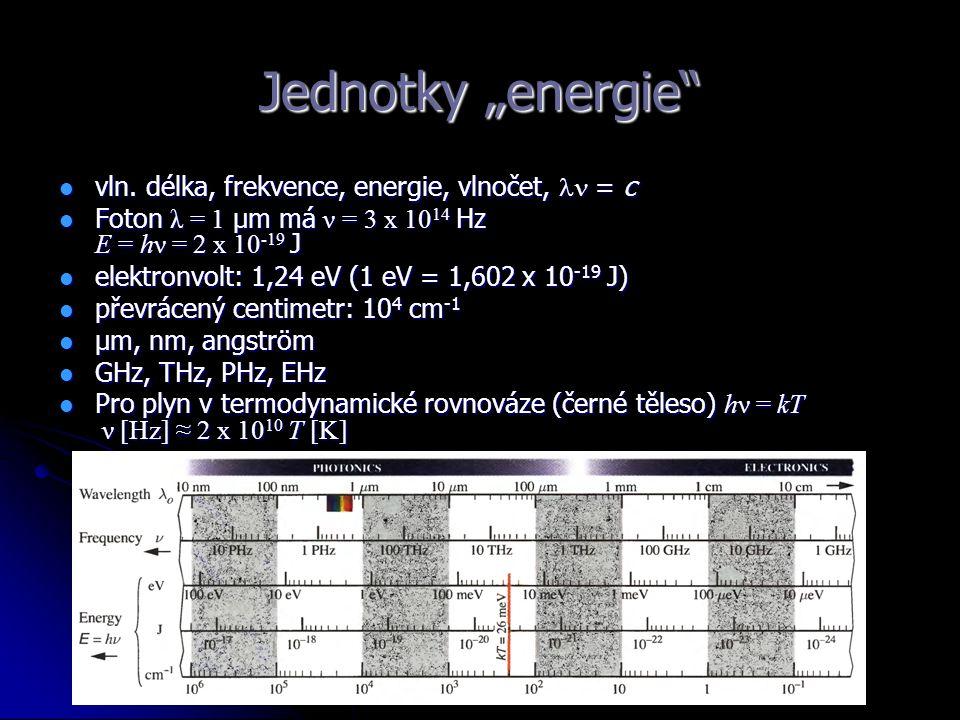 "Jednotky ""energie vln. délka, frekvence, energie, vlnočet,  = c"